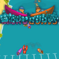 Fast paced cartoon 3D competitive boat racing.