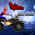 Help Spiderman drive his snow scooter (a what?) along this snowy trail.